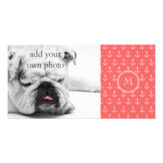 Coral White Anchors Pattern, Your Monogram Customized Photo Card