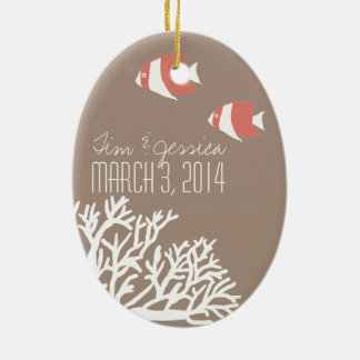 Coral White and Ivory Beige Tropical Angelfish Ceramic Oval Ornament