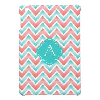 Coral White Aqua Blue Chevron, Monogram iPad Case
