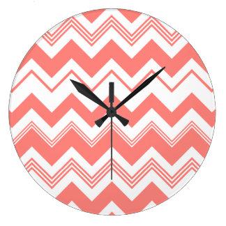 Coral White Chevron Pattern Large Clock