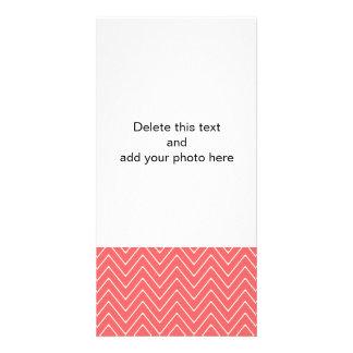 Coral White Chevron Pattern Custom Photo Card