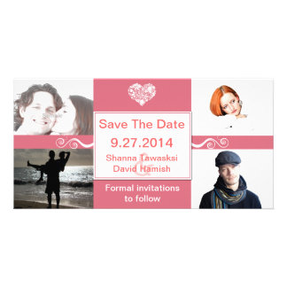 Coral & White Custom Photo Wedding Save The Date Picture Card