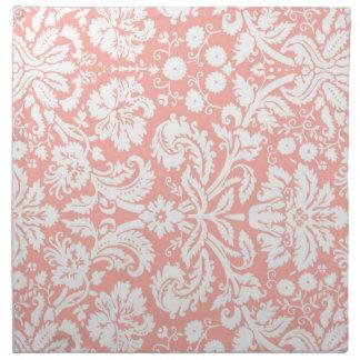 Coral White Damask Floral Dinner Napkins