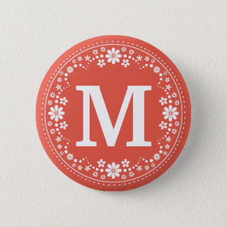 Coral White Floral Wreath Monogram 6 Cm Round Badge