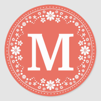 Coral White Floral Wreath Monogram Classic Round Sticker