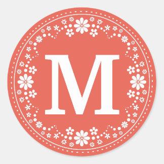 Coral White Floral Wreath Monogram Round Sticker