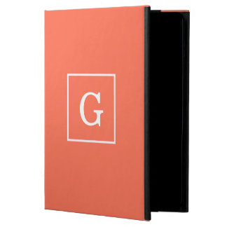 Coral White Framed Initial Monogram iPad Air Cover