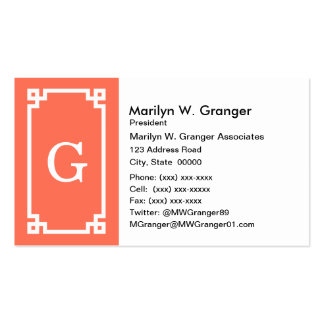 Coral White Greek Key Frame #2 Initial Monogram Pack Of Standard Business Cards