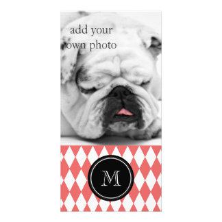 Coral White Harlequin Pattern, Black Monogram Photo Card Template