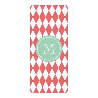 Coral White Harlequin Pattern, Mint Monogram 10 Cm X 24 Cm Invitation Card