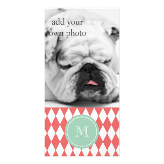 Coral White Harlequin Pattern, Mint Monogram Photo Card