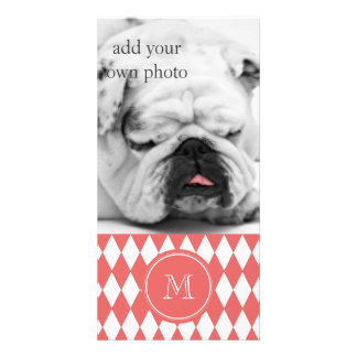 Coral White Harlequin Pattern, Your Monogram Personalized Photo Card