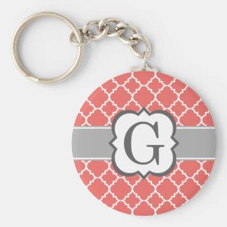Coral White Monogram Letter G Quatrefoil Key Ring
