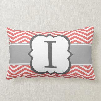 Coral White Monogram Letter I Chevron Lumbar Pillow