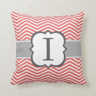 Coral White Monogram Letter I Chevron Throw Pillow