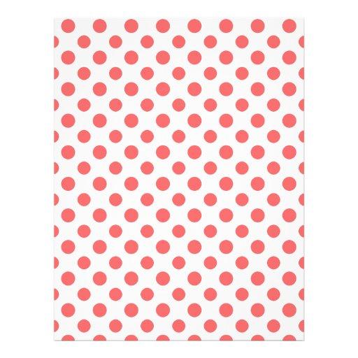 Coral White Polka Dots Pattern Custom Flyer