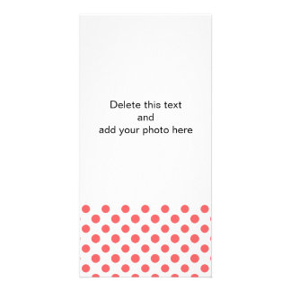 Coral White Polka Dots Pattern Picture Card