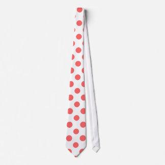 Coral White Polka Dots Pattern Tie