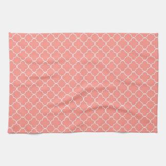 Coral White Quatrefoil Kitchen Cloth Towel