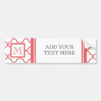 Coral White Quatrefoil Your Monogram Bumper Stickers