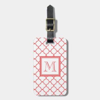 Coral White Quatrefoil   Your Monogram Luggage Tag