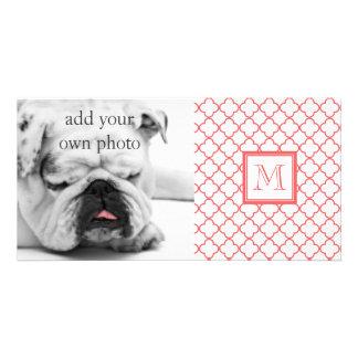 Coral White Quatrefoil | Your Monogram Photo Card Template