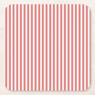 Coral & White Sailor Stripes Coaster