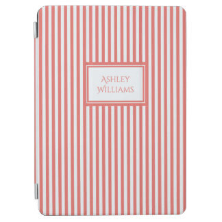 Coral & White Stripes Custom Name iPad Cover