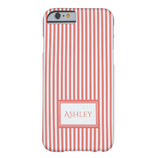 Coral & White Stripes Custom Name iPhone Case