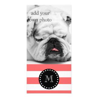 Coral White Stripes Pattern, Black Monogram Personalised Photo Card