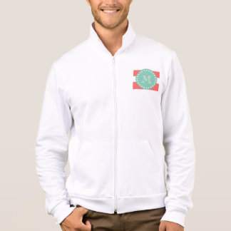 Coral White Stripes Pattern, Mint Green Monogram Jacket