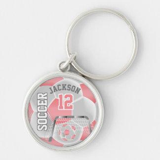 Coral & White Team Soccer Ball Key Ring
