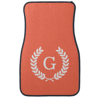 Coral White Wheat Laurel Wreath Initial Monogram Floor Mat