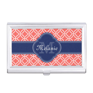 Coral Wht Moroccan Pattern Navy Monogram Business Card Holder