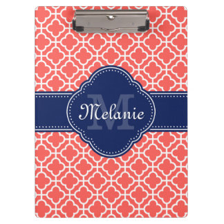 Coral Wht Moroccan Pattern Navy Monogram Clipboard