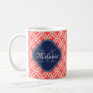 Coral Wht Moroccan Pattern Navy Monogram Coffee Mug