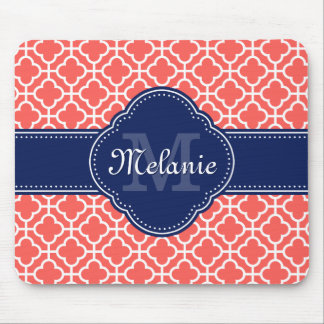Coral Wht Moroccan Pattern Navy Monogram Mouse Pad