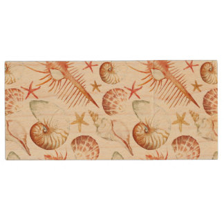 Coral With Shells And Crabs Pattern Wood USB 2.0 Flash Drive
