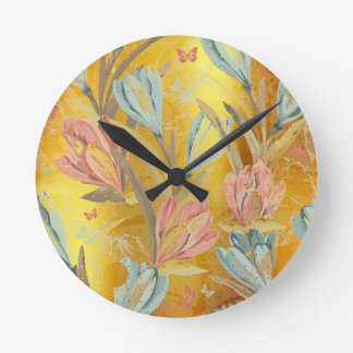 Coral Yellow Gold Sun Floral Coffe Blue Butterfly Round Clock