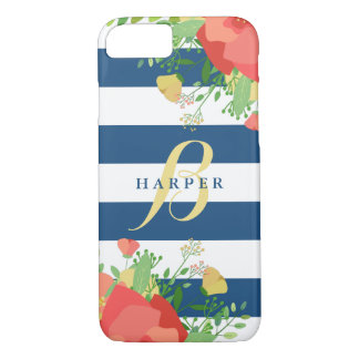 Coral & Yellow Roses | Striped Monogrammed iPhone 8/7 Case