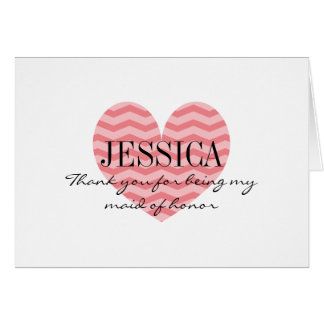 Coral zig zag heart maid of honor thank you cards