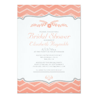Coral Zigzag Bridal Shower Invitations