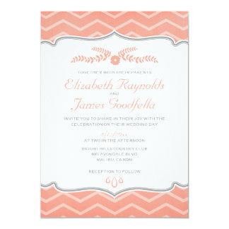 Coral Zigzag Wedding Invitations