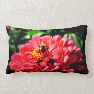 Coral zinnia with bumblebee lumbar cushion