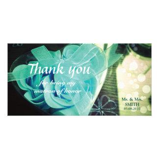 Cordate Rose Bridesmaid Thank You Card Custom Photo Card