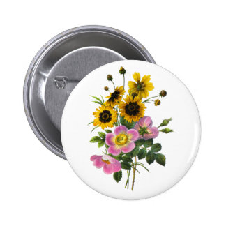 Coreopsis and Rose Hips Redoute Bouquet Button