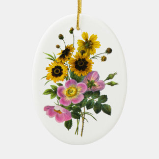 Coreopsis and Rose Hips Redoute Bouquet Ceramic Oval Decoration