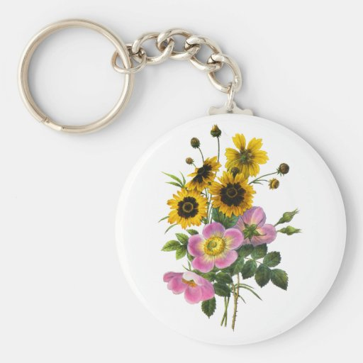 Coreopsis and Rose Hips Redoute Bouquet Keychains