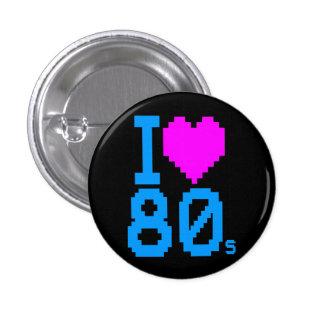 COREY TIGER 1980s RETRO I HEART 80 s LOVE Button