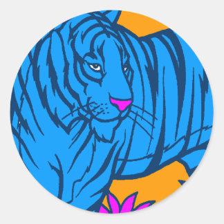 COREY TIGER 1980's RETRO JUNGLE TIGER BLUE Round Sticker